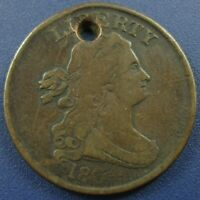 1804 DRAPED BUST HALF CENT 1/2C, SPIKED CHIN, DIE CRACK C-5 - VF DETAILS