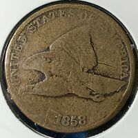1858 1C SMALL LETTERS FLYING EAGLE CENT 53029