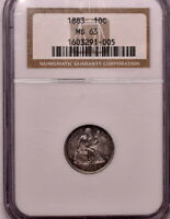 1883 10C SEATED DIME NGC MINT STATE 63