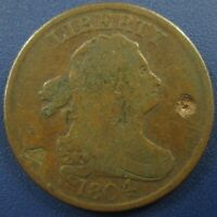 1804 DRAPED BUST HALF CENT 1/2C, SPIKED CHIN C-8 - FINE DETAILS