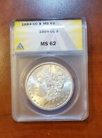 1884 CC ANACS MINT STATE 62 FROSTY WHITE ALL ORIGINAL GORGEOUS MORGAN SILVER DOLLAR 53
