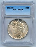 1925 S PEACE SILVER DOLLAR. ICG GRADED MINT STATE 64. LOT 2681