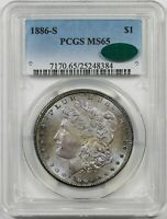 1886-S $1 PCGS/CAC MINT STATE 65 MULTI COLOR TONING MORGAN SILVER DOLLAR