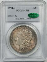 1890-S $1 PCGS/CAC MINT STATE 65 TONED MORGAN SILVER DOLLAR