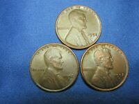 1952 P, D & S LINCOLN CENT - LOT OF 3 - FULL WHEAT LINES - SHIPS FREE