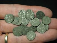 MEDIEVAL. LOT OF 17 UNCLEANED MEDIEVAL SILVER COINS FROM HUN