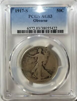 1917-S OBVERSE   WALKING LIBERTY HALF DOLLAR PCGS AG03 1917 S SHIPS FREE