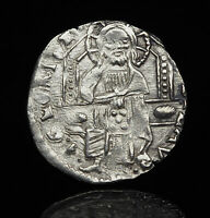 ITALY VENICE. DOGE SILVER GROSSO 1300 1400'S CHRIST SEATED F