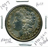1897 P AU MORGAN DOLLAR 100 CENT  ABOUT UNCIRCULATED 90 SILVER US $1 COIN 1463