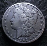 1902-S MORGAN SILVER DOLLAR - CHOICE FINE F DETAILS FROM THE SAN FRANCISCO MINT