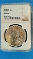 1900 S MORGAN SILVER DOLLAR  NGC   MINT STATE 61  KEY DATE