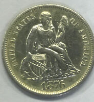 1876 S SEATED LIBERTY DIME