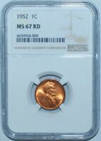 1952 P NGC MINT STATE 67RD RED LINCOLN WHEAT CENT
