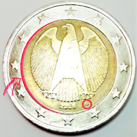2 EURO GERMANY DEFECTS COIN 2008 NOT CENTERED  ERROR  G  LETTER DEFEKTE MNZE