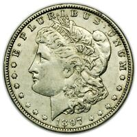 1897-O MORGAN DOLLAR, LARGE, ABOUT UNC, SILVER COIN [4591.01]