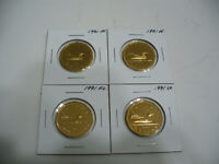 LOT OF 4  1991  CANADA LOONIES COIN ONE 1$ DOLLAR  PROOF GRADE     7.99 AUCTION