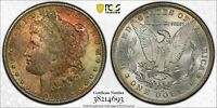 1885-O MORGAN DOLLAR $1 PCGS MINT STATE 65 - COLORFUL TEXTILE TONING