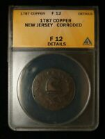 1787 NEW JERSEY COLONIAL COPPER M 37 F ANACS F 12 DETAILS CO