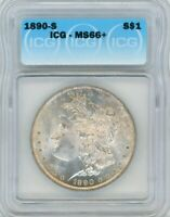 1890-S SILVER MORGAN DOLLAR $1, MINT STATE 66 - ICG