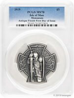 2019 5 ISLE OF MAN FIRST KING OF MANN 3 OZ ANTIQUE SILVER COIN PCGS MS70 FDI