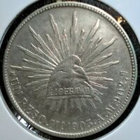 1903 MO AM SILVER MEXICAN 1 PESO COIN IN LARGE 2.5
