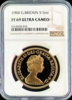 1984 GOLD GREAT BRITAIN PROOF 5 POUNDS COIN NGC PROOF 69 ULTRA CAMEO