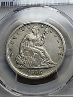 1866 S SEATED LIBERTY HALF DOLLAR PCGS XF DETAIL WB 6 MOTTO