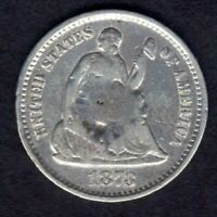 1873 S SEATED LIBERTY HALF DIME