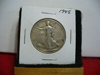 1945  WALKER  LIBERTY WALKING  HALF  DOLLAR  50 CENT PIECE  COIN  45  AUCTION