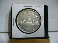 1951  CANADA  SILVER  ONE DOLLAR  COIN   1$   NICE GRADE  1951   19.99  AUCTION
