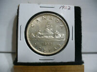 1952  CANADA  SILVER  ONE DOLLAR  COIN   1$   NICE GRADE  1952   19.99  AUCTION