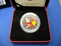 VENETIAN GLASS HOLIDAY SEASON WITH CANDY CANE   1OZ SILVER COIN 2013 CANADA 20$