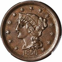1856 BRAIDED HAIR LARGE CENT SLANTED 5 PCGS MINT STATE 62 BN BEAUTIFUL ORIGINAL TONING