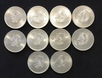 LOT OF 10 UNCIRCULATED 1948 MEXICO SILVER COINS CINCO PESOS