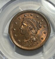 1856 BRAIDED HAIR 1C CENT PCGS MINT STATE 65 RB UPRIGHT 5