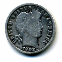 1902 P BARBER HEAD DIME 90 .900 SILVER US 10 CENT U.S AMERICAN 10C US COIN4558