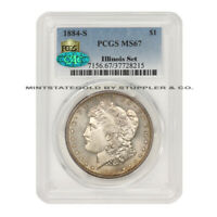 KEY DATE OF THE SERIES 1884-S $1 SILVER MORGAN DOLLAR PCGS MINT STATE 67 CAC ILLINOIS SET