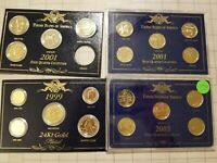 GOLD PLATED STATE QUARTERS SETS 2001 2003 AND COIN SET 1999