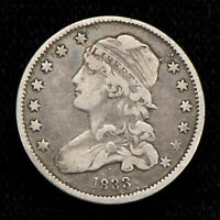 1833 25C CAPPED BUST QUARTER ORIGINAL VF COIN  RUSTED DIE  L