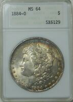 1884 O MORGAN SILVER DOLLAR  MINT STATE 64 ANACS $1 COIN  1884-O MINT STATE 64
