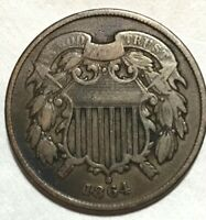 1864 TWO CENT PIECE COIN
