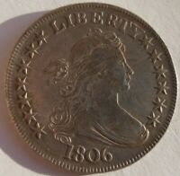 1806 POINTED 6 WITH STEM DRAPED BUST HALF DOLLAR  EXTRA FINE /AU DETAILS NECK SCRATCH