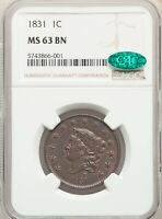 1831 LARGE CENT, CORONET HEAD, NGC-63 BROWN CAC