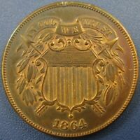 1864 U.S. TWO CENT PIECE COIN, LARGE MOTTO - TONED BRILLIANT UNCIRCULATED DETAIL