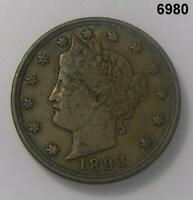 1893 LIBERTY NICKEL EXTRA FINE  TONED  DATE 6980