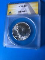 1970 D KENNDY 50 C MINT STATE 66 ANACS BEAUTIFUL COIN