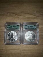 2 ICG MINT STATE 69 1 OZ SILVER EAGLES 1988 2003