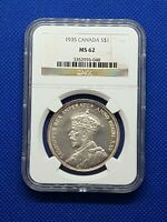CANADA 1935 KING GEORGE V SILVER DOLLAR NGC MINT STATE 62