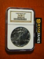 1987 $1 AMERICAN SILVER EAGLE NGC MINT STATE 69 CLASSIC BROWN LABEL
