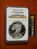 2004 W PROOF SILVER EAGLE NGC PF70 ULTRA CAMEO CLASSIC BROWN LABEL